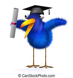 3d Bluebird has graduated - 3d render of a blue bird wearing...