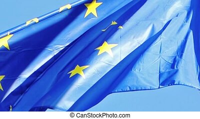Flag of EU in front of Parliament, - Flag of the European...