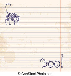 Halloween cat Boo Sketch on notebook ruled paperVector...