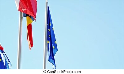 Flags of EU, Belgium and EUROZONE - Flags of European Union,...