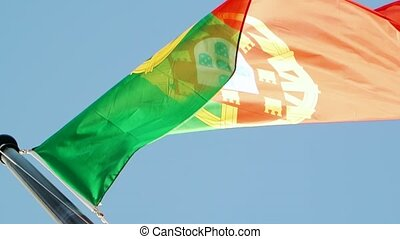 Flag of Portugal waving as seen from below point of view...