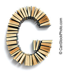 Letter G formed from the page ends of books - Letter G...