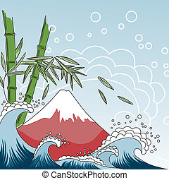 Japan style illustration - Card with Fuji Mount, sea waves...