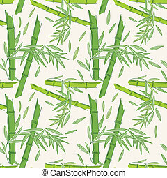 Seamless bamboo pattern - Pattern with green branch with...