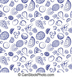 Hand drawn vintage fruit seamless