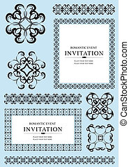 Collection of ornamental rule lines, frames and design...