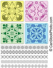 Collection of ornamental rule lines and tiles. Vector...