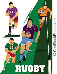 Collection of Rugby Player Silhouettes. Vector illustration