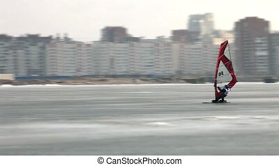 winter windsurfing high speed - sailing in the winter...