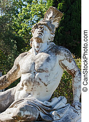 Achilles statue from Achilleion palace at Corfu Close up