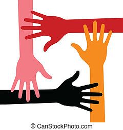 Colorful Four Hands Icon