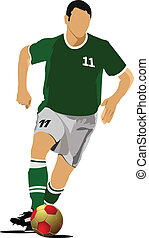 Soccer player poster. Football play