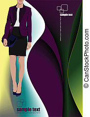 Young woman on abstract purple back
