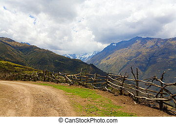 Road in Andes - Road in Andean Mountains Salkantay trek to...