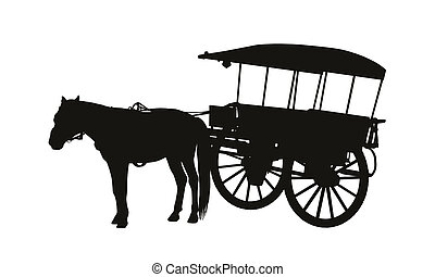 old style country carriage with one horse in harness...