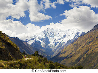In the Andes - Nevado Humantay peak in the Andean mountains,...