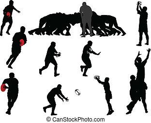 rugby, joueur, collection, -, vecteur
