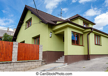 repaired rural house, fixed facade, insulation and painted...
