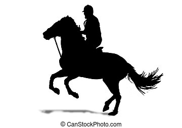 rider silhouette - Silhouette of horse and rider on a white...