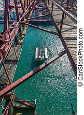 On top of the Bizkaia suspension bridge - Aerial view of...