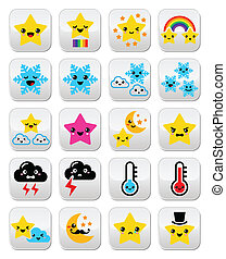 Cute weather kawaii buttons, star, - Funny Manga cartoon...
