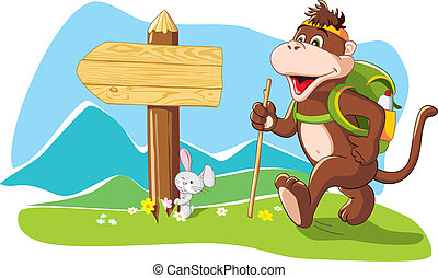 Funny monkey hiker in mountains - Funny cartoon monkey...