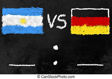 World Cup Finalists - black board with flags of Argentinia...
