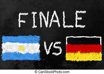World Cup Finalists - Flags of Argentinia and Germany and...