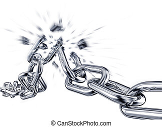 burst - 3d rendering of a broken chain