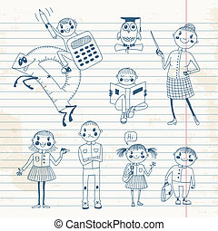 Hand drawn teacher and schoolchildren Vector illustration