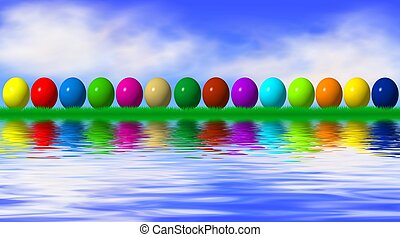 easter eggs reflecting in water