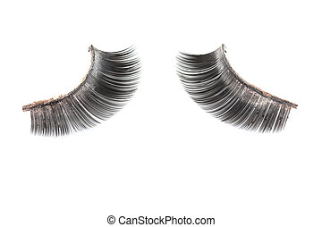 Use of  artificial eyelashes macro Isolated