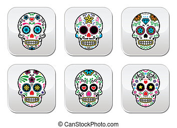 Mexican sugar skull buttons - Vector icon set of decorated...