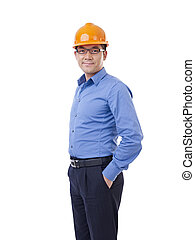 asian man with orange safety hat - portrait of asian man...