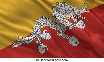 Flag of Bhutan seamless loop - Flag of Bhutan gently waving...