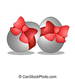 easter egg with ribbon red