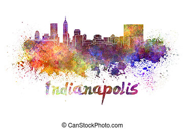 Indianapolis skyline in watercolor splatters with clipping...