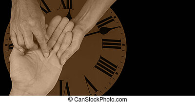 Time Will Tell - Female palm reader holding mans open hand...