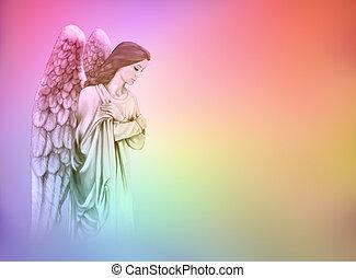 Angel on rainbow background - Guardian Angel on rainbow...