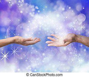 Soulmates Sharing Energy - Man and woman both with one hand...