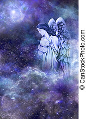 Guardian Angel - Deep space blue background with Guardian...
