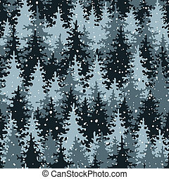 Heavy snow in the pine forest. Seamless pattern. Vector...
