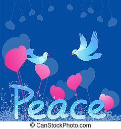 Peace Dove  - Peace text with dove on heart background