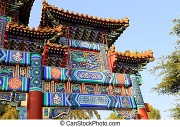 Traditional antique Chinese gate in Yonghe Temple, also...
