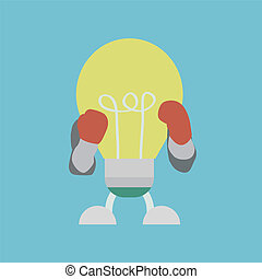 lightbulb boxer - lightbulb wearing boxing gloves, concept...