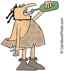 Caveman drinking wine - This illustration depicts a caveman...