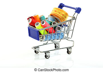 sewing supplies in shopping cart