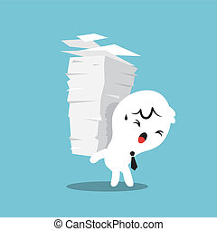 Paper Stack Work Load - Business man carrying a stack of...