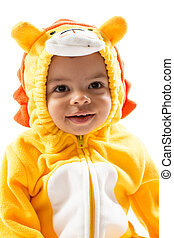 Black child boy,dressed in lion carnival suit, isolated on...
