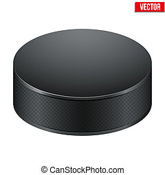 Black Hockey puck. Vector Illustration. Isolated on white...